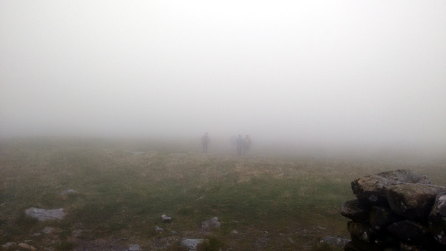 yorkshire fellwalking hiking long distance walk england fog mist hikers
