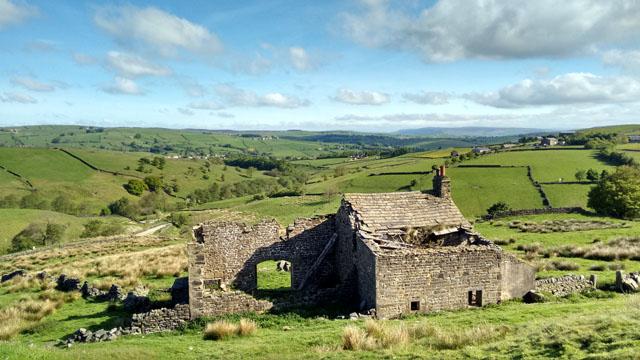 yorkshire derelict stone cottage farm pennine way england