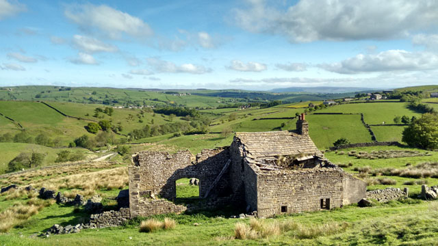 yorkshire derelict stone cottage farm pennine way england