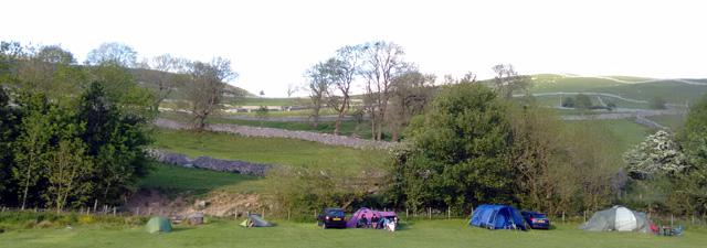 limestone karst yorkshire dales tent camping pennine way national trail england