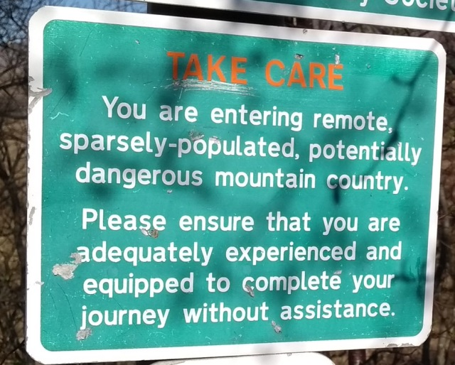 mountain safety sign in highlands of scotland