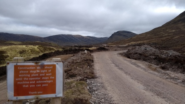 bulldozed hydro track at loch an laorgh scotland highlands