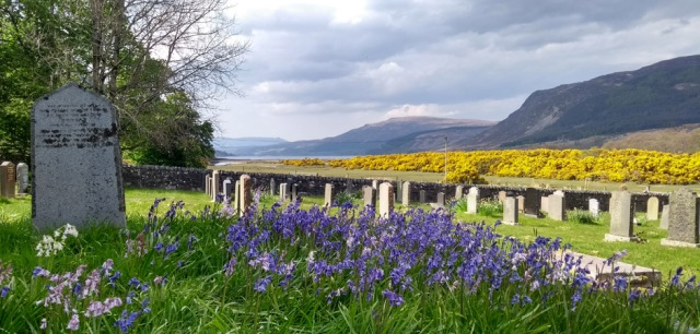 clachan kirk at loch broom in scottish highlands