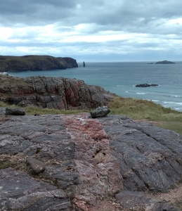 ancient rocks above sandwood bay in scottish highlands