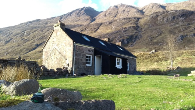 mountain bothy in scottish highlands