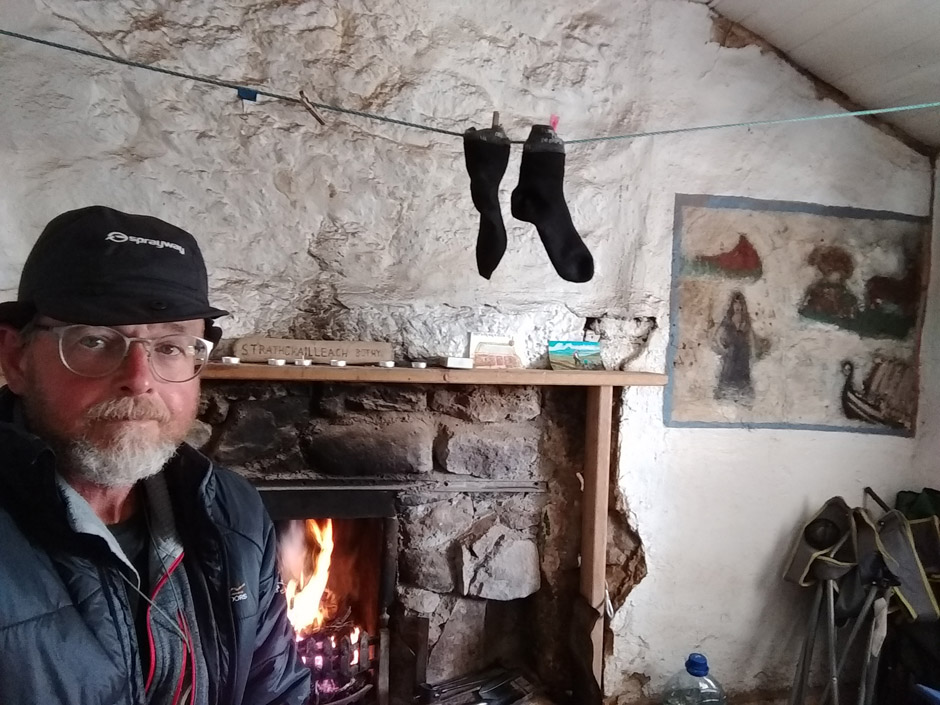 peat fire in scottish highland bothy