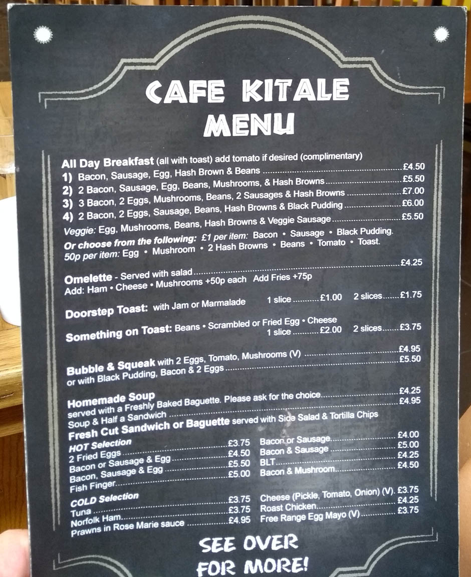north walsham cafe menu norfolk england
