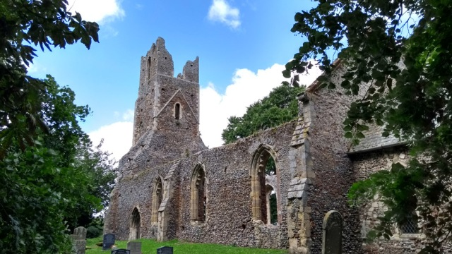 ruined church at Tunstall in norfolk broads england