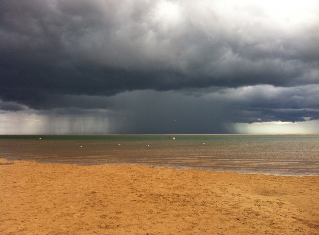 beach and thunderstorm in north norfolk