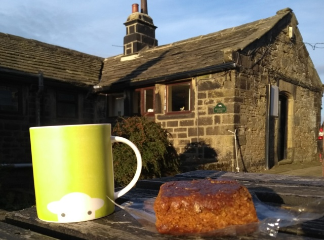 mug of tea and yorkshire ginger parking hebden bridge