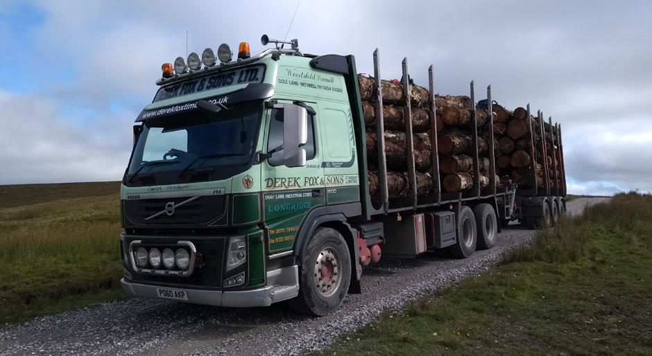 yorkshire forestry truck in pennines