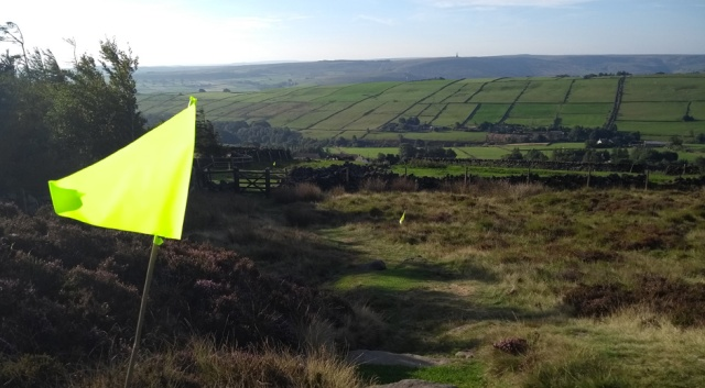 flags on the pennine way national trail england yorkshire