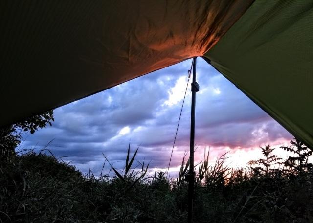 micro-tarp-bivy-swamp-sunset